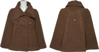brown double brested cape front