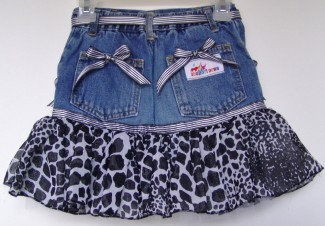 Animal print jean skirt back