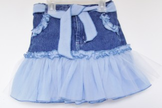 Blue Ruffled Jean skirt front
