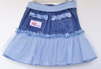 Blue Ruffle Jean Skirt back