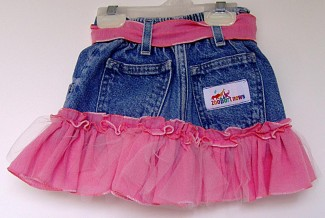 Pink ruffled jean skirt back