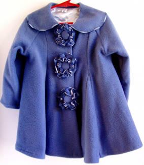 flower button coat blue