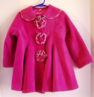 flower button coat pink