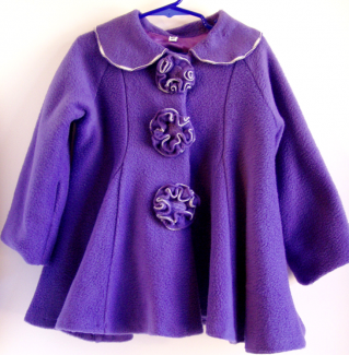 flower button coat purple