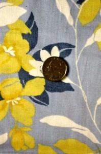 White, Yellow, Blue Flowers on Lt Blue
