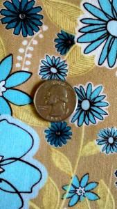 Turquoise, Beige Flowers on Tan