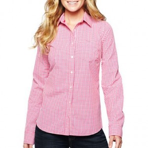pink check long sleeve shirt blouse